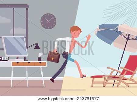 Man leaps to vacation. Young worker after feeling tired and exhausted in the office runs to the beach resort for relax. Vector flat style cartoon business concept illustration