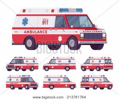 Ambulance car van rescue set. Emergency disaster vehicle, modern transport with warning lights and sirens for urgent help. Vector flat style cartoon illustration isolated on white background