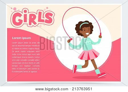 Cute african girl jumping with skipping rope, girls banner flat vector element for website or mobile app with sample text