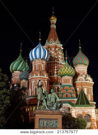 The Cathedral of St. Basil the Blessed in night