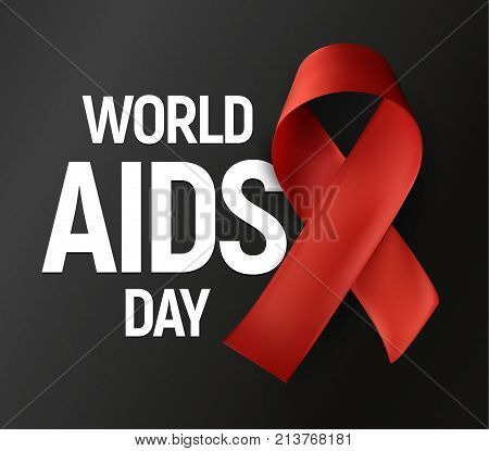 Isolated red ribbon with white text World AIDS Day on grey background, HIV Awareness vector logo, stop AIDS baner