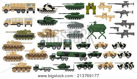 Modern army military tanks and World War II with towers and guns. Infantry fighting vehicle and cars with machine guns. Self-propelled artillery cannons. Trucks. Firearms. Rifles and guns.