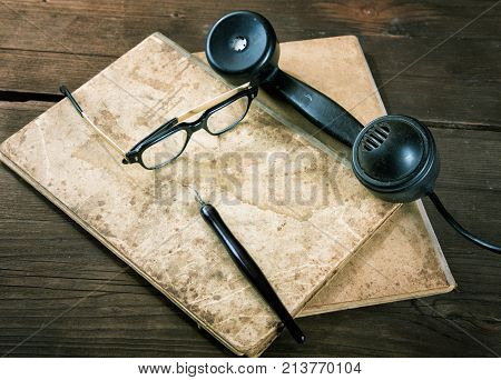 Still-life With Old Writing-books A Nib And Telephone