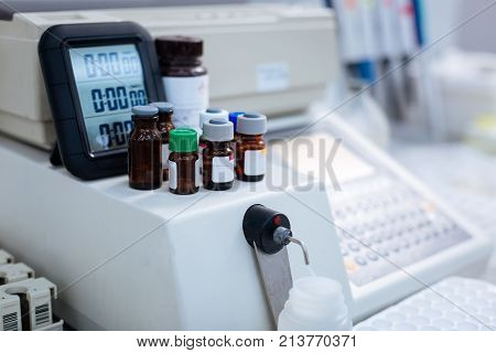 For multiple purposes.  Unlike brown vials with caps putting in while standing on medical equipment and electronic screen standing behind them