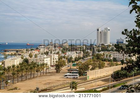 HAIFA, ISRAEL - DECEMBER 11: View of the Mediterranean Sea, Haifa Bay and Bat Galim neighborhood from slopes of Mount Carmel in Haifa, Israel on December 11, 2016