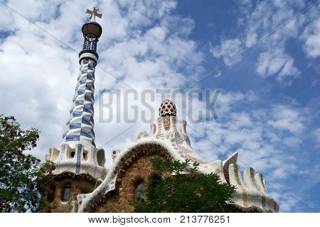 BARCELONA, SPAIN - AUG 30th, 2017: View of the entrance to the Park Guell by Antoni Gaudi, Catalonia.