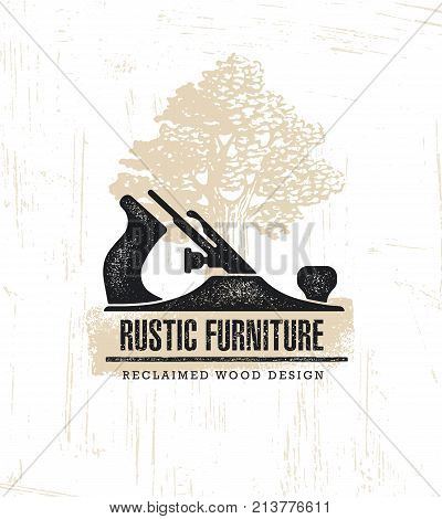 Hand Plane Custom Rustic Furniture Wood Works Interior Design Stamp Collection. Reclaimed Wood Vintage Artisan Illustration.