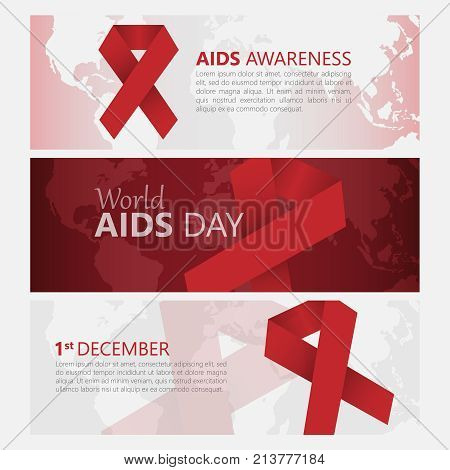 Banner December 1 World Day Aid to fight AIDS, red ribbon. The concept of assistance. Vector illustration.
