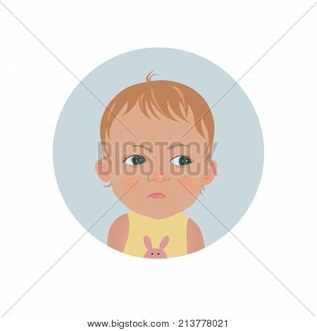 Resentful child emoticon. Cute offended baby emoji. Discontent toddler smiley expression. Isolated vector illustration