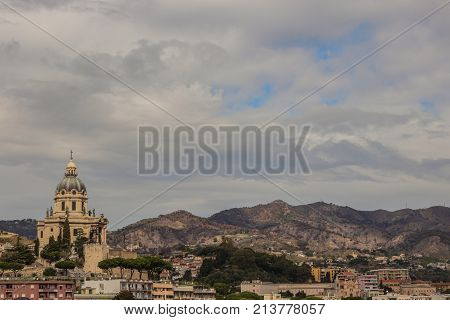 messina sicily , cathedral . Blue sky and clouds background. Island , italy