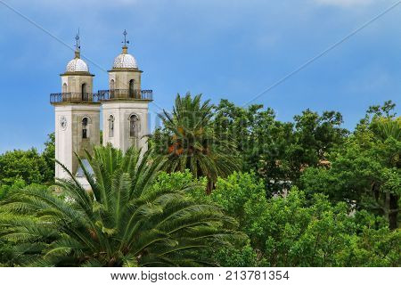 Bell Towers Of Basilica Of The Holy Sacrament In Colonia Del Sacramento, Uruguay