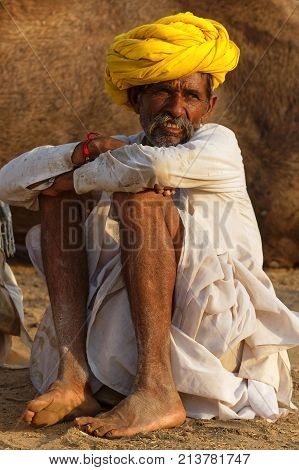 Pushkar, India, October 28, 2017 : Portrait Of A Farmer During The Festival. Pushkar Camel Fair Is O
