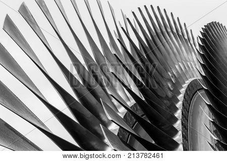 High Precision Metal Turbine Blades Closeup Industrial Art And Design Engineering Concept