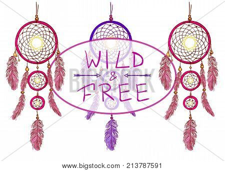 WILD and FREE text with hand drawn dream catchers and arrows. VECTOR illustration. Pink and purple dreamcatchers.