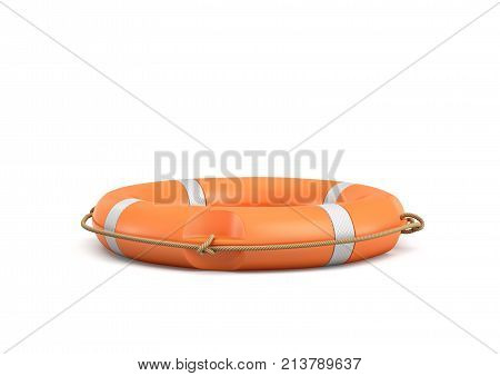 3d rendering of a single isolated orange life buoy isolated on white background. Life savior. Emergency equipment. Last life line.