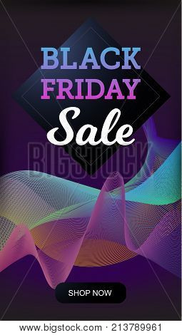Vector illustration realistic colorful banner with Black Friday Sale text on the abstract vawy background. Eps 10 file.