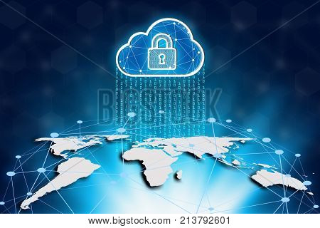 World map and cloud on a technology background Cyber Security Data Protection Business Technology Privacy concept global network and global communication.