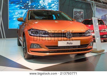 ATHENS, GREECE - NOVEMBER 14, 2017: Volkswagen Polo VI at Aftokinisi-Fisikon 2017 Motor Show.
