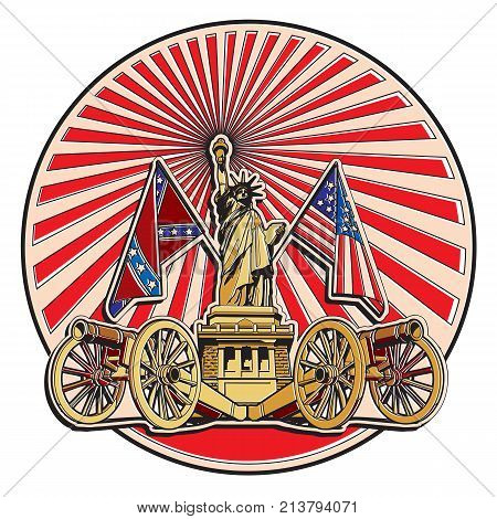 Vector badge on theme of American history with two guns and Statue of Liberty executed in retro print style with colors misregistration effect. Easily edit: file is divided into logical layers and groups. File doesn't contains gradients blends transparenc