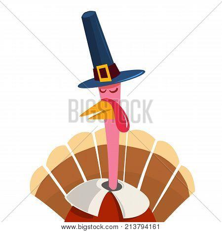 Cute cartoon Thanksgiving turkey. A vector illustration of a turkey. Thanksgiving turkey. Illustration of a turkey on white background. Turkey Escape Cartoon Mascot Character.