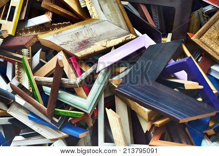 Abstract background from scraps of wooden frames for picture