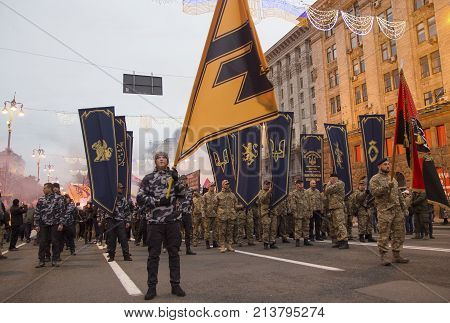 Kiev Ukraine - October 14 2017: Nationalist parties and movements during the march on the anniversary of the creation of the Ukrainian army
