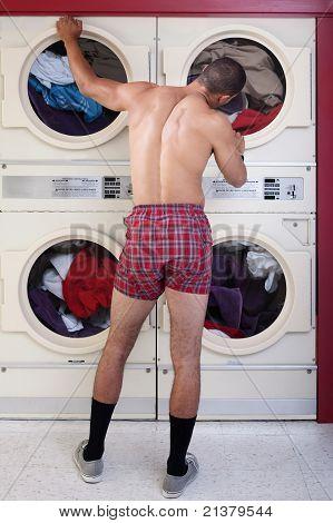 Man In Underwear At The Dryer