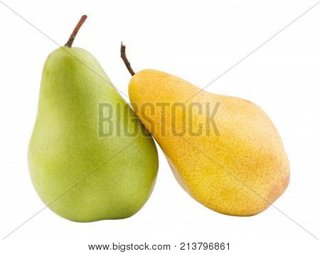 Two pears of different colors standing. One green, another yellow on white isolated background