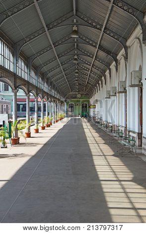 MAPUTO, MOZAMBIQUE - APRIL 29: Central train station of Maputo, Mozambique on April 29, 2012.