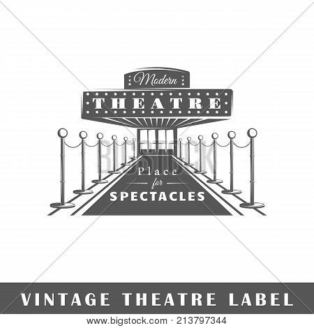 Theatre label isolated on white background. Design element. Template for logo signage branding design. Vector illustration
