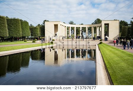 COLLEVILLE SUR MER - APRIL 6: Memorial in American cemetery near Omaha Beach April 6 2015 in Colleville sur Mer Normandy France