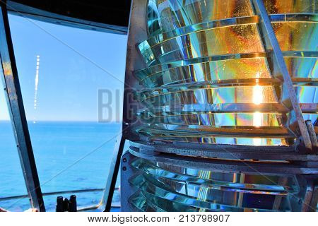 Fresnel Lens which can shine light thru prisms 20 miles out to sea taken at Battery Point Light Station in Crescent City, CA