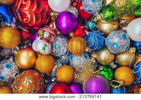 A box full of colourful Christmas holiday decorations