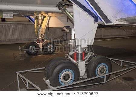 Le Bourget Paris France- May 042017: Concord - British-French supersonic passenger airplane in the Museum of Astronautics and Aviation Le Bourget.Visitors inspect the plane