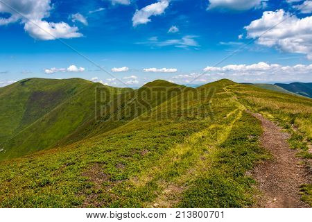 Tourist Footpath Through Mountain Ridge