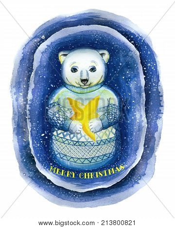 A watercolor drawing on the theme of New Year and Christmas, a drawing of a polar bear, in the technique of a cartoon, in a jacquard sweater, a Scandinavian pattern that holds a yellow star illuminating the gloom around, snow falls, symbolizes Advent