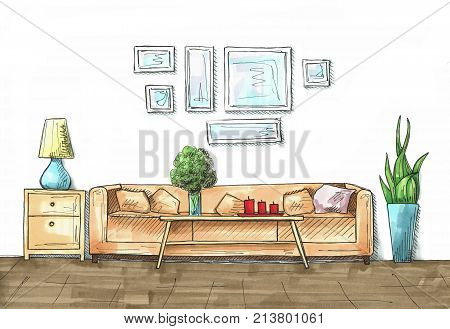 Sketch of an interior. Hand drawn illustration of a sketch style. An illustration drawn by markers.