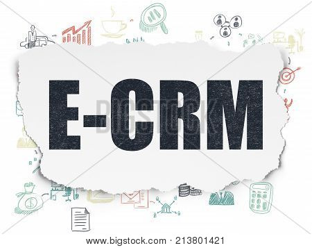 Business concept: Painted black text E-CRM on Torn Paper background with Scheme Of Hand Drawn Business Icons