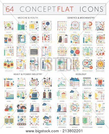 Infographics concept icons of medicine health, genetics biochemistry, heavy power industry and ecology. Premium quality vector flat design for web graphics isolated