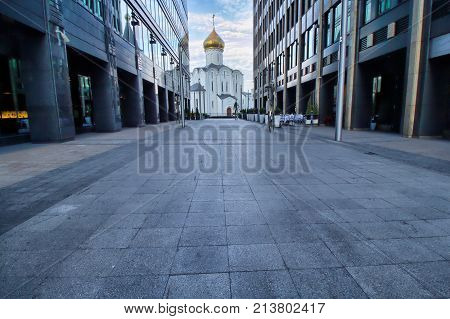 Modern architecture with religion in background - Church of Nikolaya Chudotvortsa Tverskoy Old Believers' Community - Moscow panorama