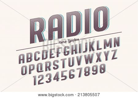 Decorative vector vintage retro typeface font typeface. Color swatches control. Opacity mask