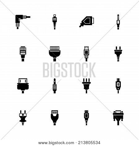 Plug icons - Expand to any size - Change to any colour. Flat Vector Icons - Black Illustration on White Background.