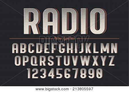 Decorative vector vintage retro typeface font typeface. Color swatches control. Opacity mask
