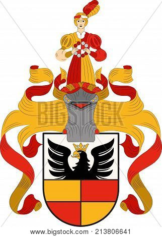 Coat of arms of Hildesheim is a city in Lower Saxony Germany. Vector illustration