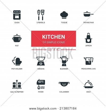 Kitchen utensils - line design icons set. Everything about cooking things. Oven, toque, frying pan, pot, apron, holder, weights, blender, measuring jug, salt, pepper, mixer, colander, dish