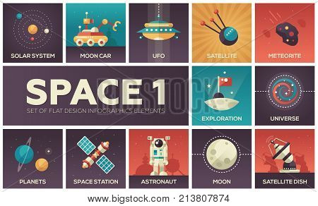 Space - set of flat design infographics elements. Colorful collection of square icons. Solar system, moon car, UFO, sattelite, meteorite, exploration, universe, planets, station, astronaut, dish