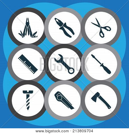 Includes Icons Such As Clamp, Turn-Screw, Shears And Other.  Tools Icons Set.