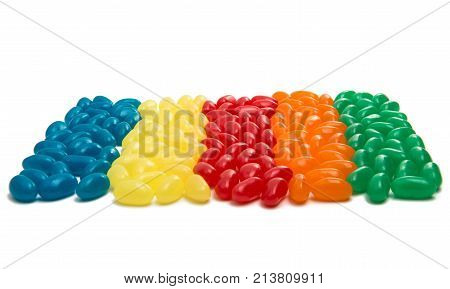 Jelly beans sweet colorful candies on white background