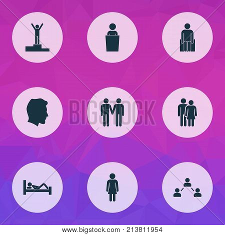 Includes Icons Such As Beloveds, Male, Lecturer And Other.  Person Icons Set.