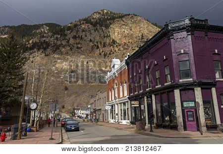 GEORGETOWN, COLORADO, UNITED STATES - OCTOBER 28,2017:Oldest streets the historic Town and business district of Georgetown, Colorado in United States on October 28,2017.